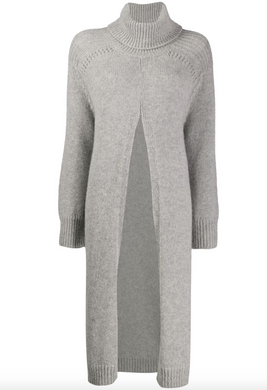 Split Front Jumper - Grey Melange