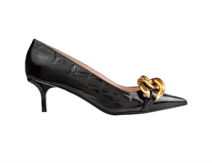 Chunky Chain-Embellished Crocodile Effect Pump - Black