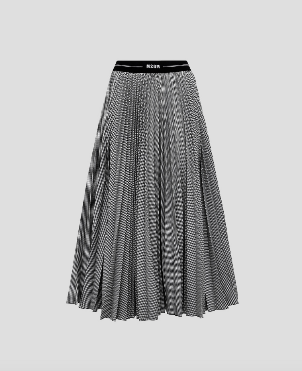 Micro Houndstooth Pleated Skirt - Black/White