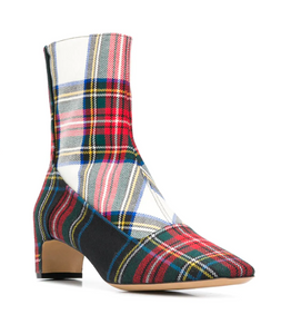 Tartan Ankle Bootie - Red Plaid