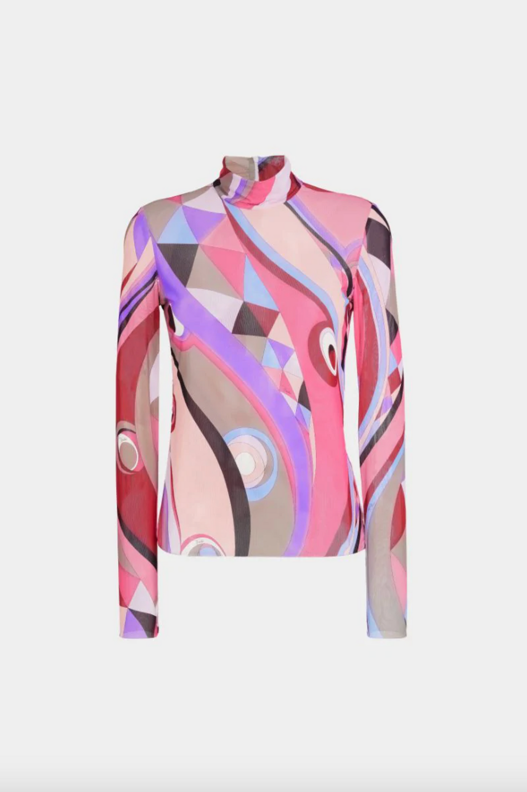 Occhi Print Mock Neck Top - Pink Multi