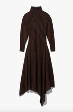 Load image into Gallery viewer, Woodgrain Jacquard Knit Dress - Dark Brown/Black