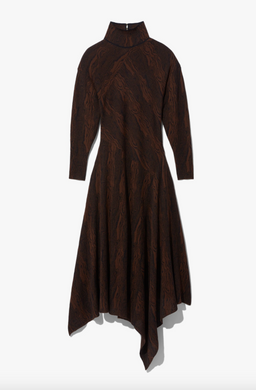 Woodgrain Jacquard Knit Dress - Dark Brown/Black