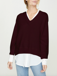 The Looker Layered V-Neck - Mulberry/White