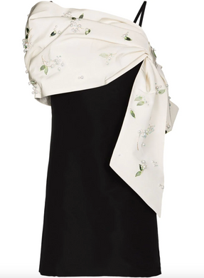 Bow-detail Embellished Dress - Black/White