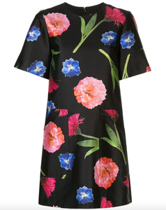 Floral Print T-shirt Dress - Black