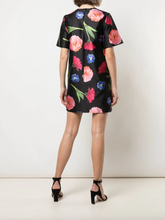 Load image into Gallery viewer, Floral Print T-shirt Dress - Black