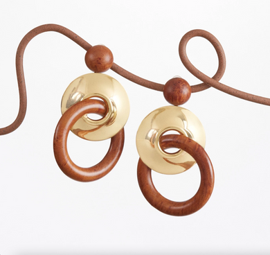 Sonya Earring - Gold/Chestnut