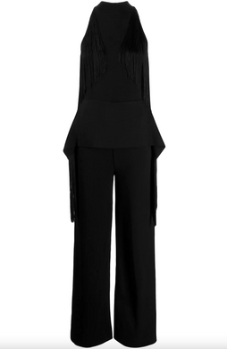 Sleeveless Fringe Jumpsuit - Black