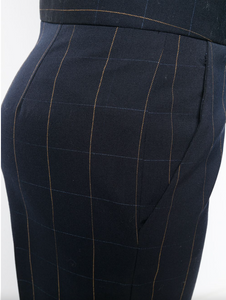 Checked Cropped Trouser - Ink