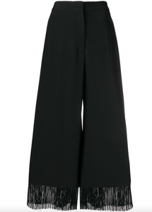 Fringe Wide Leg Trousers - Black