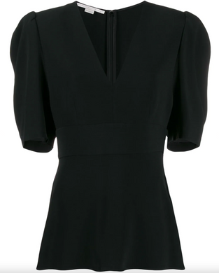 V-neck Puff Sleeve Blouse - Black