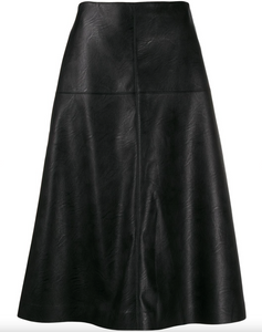 High Waisted A-Line Faux Leather Skirt - Black