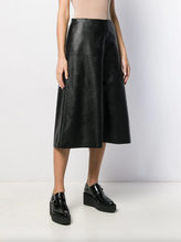 Load image into Gallery viewer, High Waisted A-Line Faux Leather Skirt - Black