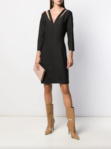 V-neck Cutout Dress - Black
