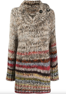 Cowl Neck Knitted Jumper - Multi