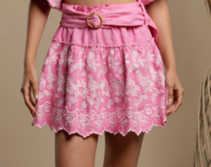 Embroidered Mini Skirt - Candy Pink