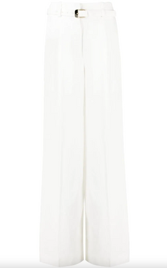 Linen Viscose High Waisted Pants - White