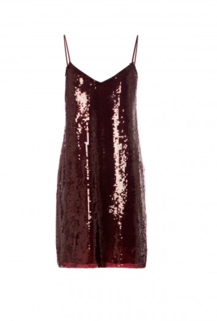 Sequined Slip Dress - Burgundy