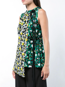 Multi Floral Asymmetrical Top