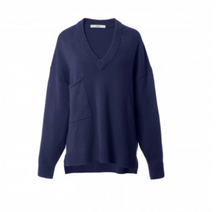 Load image into Gallery viewer, Oversized Cashmere V-Neck Pullover - Navy