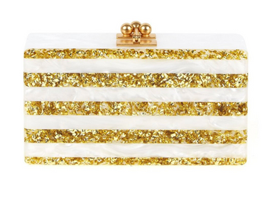 Jean Stripe Clutch - White/Gold