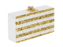Load image into Gallery viewer, Jean Stripe Clutch - White/Gold
