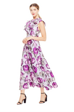 Load image into Gallery viewer, Rose Fil Coupé Ruffle Front Dress - Lavender