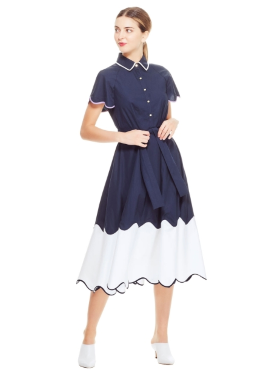 Cotton Poplin Tiered Wave Shirt Dress