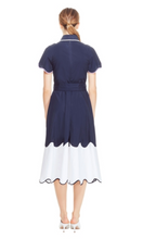 Load image into Gallery viewer, Cotton Poplin Tiered Wave Shirt Dress