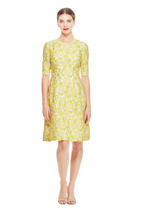 Load image into Gallery viewer, Petite Floral Fil Coupé Holly Elbow Sleeve Dress