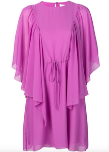 Flare-sleeve Dress - Striking Purple