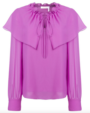 Flounce Tie-neck Blouse - Striking Purple