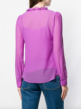 Load image into Gallery viewer, Flounce Tie-neck Blouse - Striking Purple
