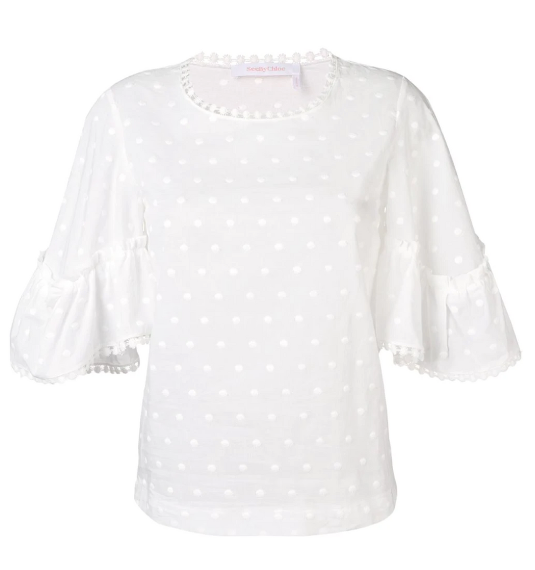 Embroidered Polka Dot Blouse - White
