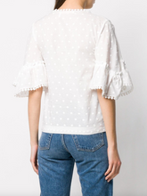 Load image into Gallery viewer, Embroidered Polka Dot Blouse - White