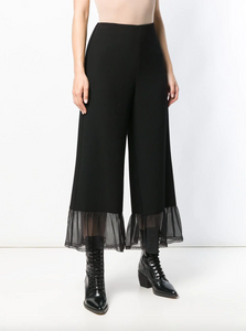 Sheer Panel Palazzo Pants - Black