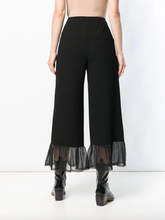 Load image into Gallery viewer, Sheer Panel Palazzo Pants - Black