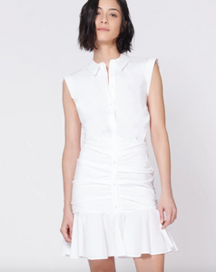 Bell Button Down Ruched Dress - White