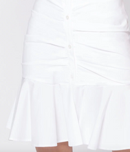 Load image into Gallery viewer, Bell Button Down Ruched Dress - White