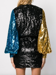 Sequin Wrap Dress - Multi