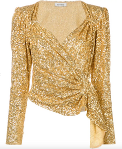 Sequin Wrap Top - Gold