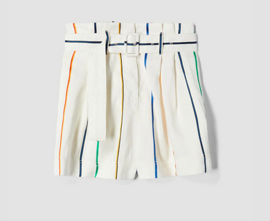 Multicolor Stripe Belted Short - Soft White