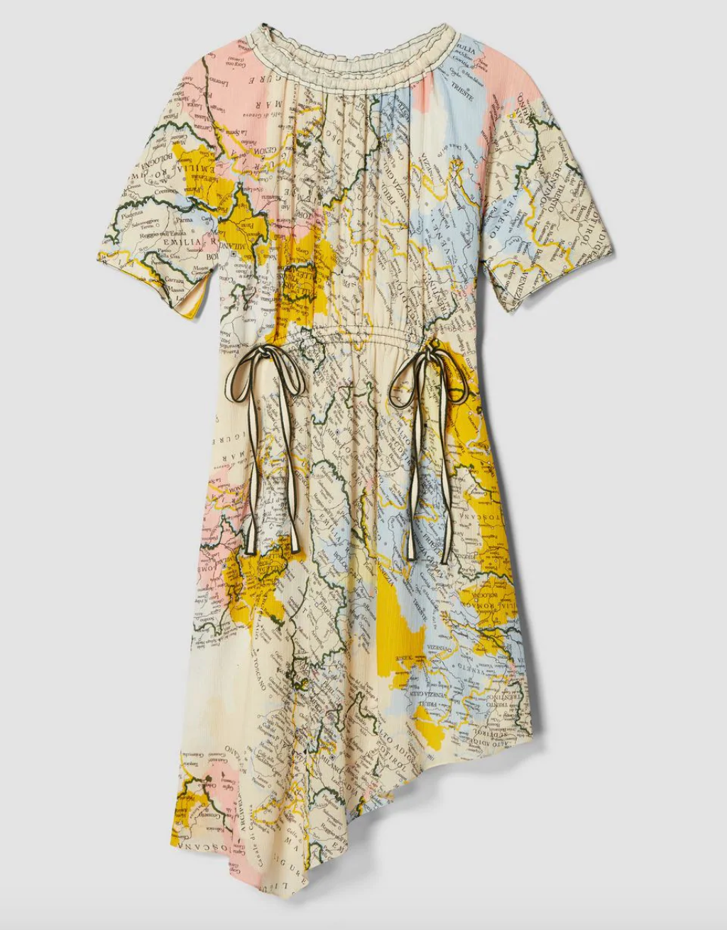 Asymmetric Drawstring Waist Map Print Georgette Dress - Cream Multi