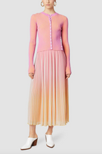 Load image into Gallery viewer, Ombre Pleated Midi Skirt - Pink/Tangerine