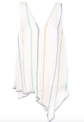 Multicolor Stripe Asymmetrical Tank - Soft White
