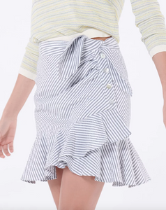 Kaia Skirt - Grey/White Seersucker