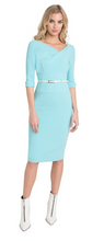 Load image into Gallery viewer, Jackie O 3/4 Sleevelength Dress - Atlantic Aqua