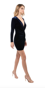 Lara Velvet Mini Dress - Navy