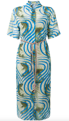 Koi Fish Shirt Dress - Blue Multi